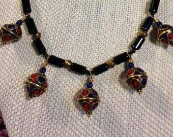 Exotic Nepalese And Black Onyx  Necklace With Swarovski Bead accents; Asian inspired