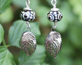 SALE, Handmade, Raku Leaf, Lampwork Glass Bead, Rustic Earrings, Boho Style, Gypsy Style, Lightweight, Dangle Earrings