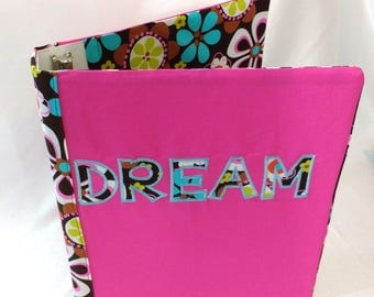 Fabric Covered 3 Ring Binder Journal Notebook School Folder Stationery Embroidered Cover Recipe Organizer Book Peace Hearts Dream Pink