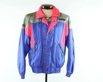 Vintage 90s DESCENTE Lightweight Spring Ski Jacket Snowboard Winter Coat Purple Pink 1990s Men's Large L Windbreaker