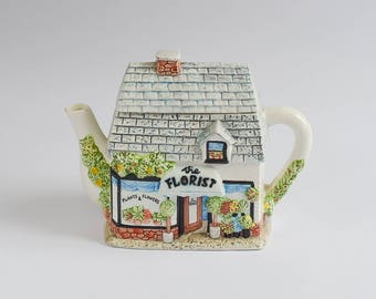 Vintage Teapot Village The Florist Shop Traditional English Great Condition Excellent Gift or Addition to Your Collection