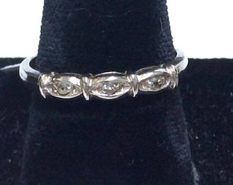 Sale! 14K Diamond Band Ring, White Gold, Wedding, Anniversary, Vintage, Stacking Ring