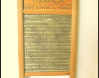 Rustic Primitive COLUMBIA Dubl Handi Metal Wood and Tin Small Size Laundry Lingerie WASHBOARD Wash Board