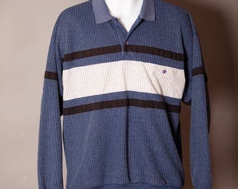 Vintage Men's 80s Long Sleeve Polo Shirt - XCEPTIONS