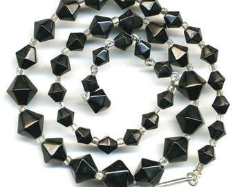 "Vintage Black Bead Necklace Six Sided Graduated Bicone Shape 17"" Long"
