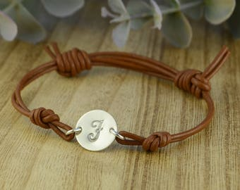 Any Initial Monogrammed Initial Leather Adjustable Bracelet- Hand Stamped Sterling Silver Filled Black or Brown Bracelet