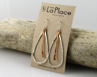 Sterling and Copper Hammered Hoops, Sterling and Copper Hammered Dangles, Sterling and Copper Hammered Drop Earrings, Two Tone, Two Toned