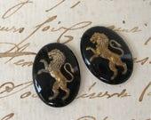 Vintage Rampant Lion Intaglio Czech Glass Cabochons Black & Gold 18x13mm Oval Unset (2)