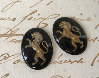 Vintage Rampant Lion Intaglio Czech Glass Cabochons Black & Gold 18x13mm Oval Unset (2)