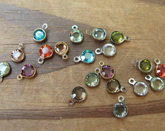 4mm Swarovski Crystal Channel 1 Loop Charms in Oxidized Brass You Choose Color or Assorted (20)