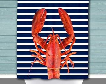 Lobster Shower Curtain: Nautical Stripes Beach House Inspired | 12 Eyelet/Button Hole | Size and Pricing via Dropdown