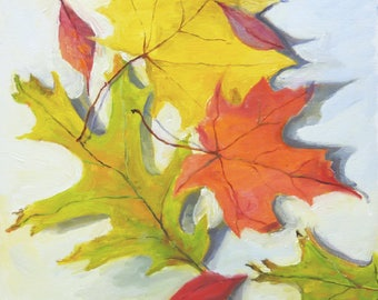 Original Oil Painting Colorful Leaves