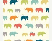 "SUMMER SALE END Of Bolt - 28""X44"" of Ellie Fam Elephants From Birch Organic Fabric's Just For Fun Collection by Jay-Cyn Designs"