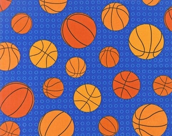 "Fat Quarter Only (18""x22"") of Basketballs on Blue From Robert Kaufman Fabric's Sports Life Collection"