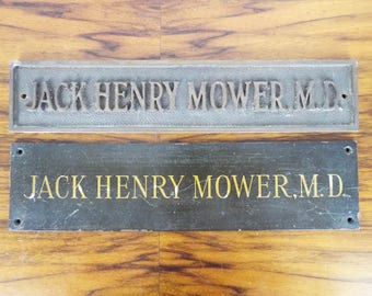 Vintage Metal Medical MD Bronze Doctor Signs Jack Henry Mower Plaques Old Metal, Unique Man Cave Wall Decor Hanging Sign, Industrial Home