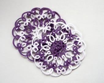 Tatting lace coaster-wedding ceremony-rehearsal dinners-protect furniture-white-purple coasters-romantic dinner-Valentine's Day-gift for Mom