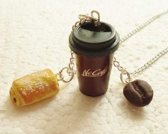 Coffee And Croissant Pendant.  Polymer clay