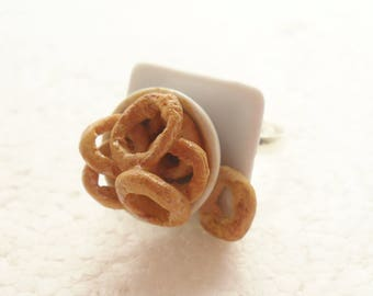 Bowl Of Onion Rings Ring. Polymer Clay.