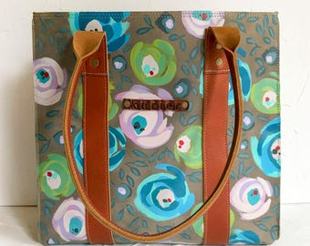 "OOAK Handpainted leather tote - ""Maria"" tote bag BLUE floral"