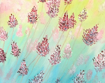 Clearance Sale: Pink Wildflowers. Original Hand Painted Oil Painting. Size 6 x 6 canvas