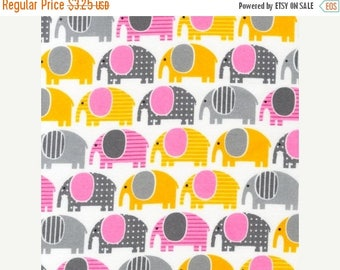 SHOP CLOSING SALE Flannel Fabric for quilt or craft Urban Zoologie by Ann Kelle for Robert Kaufman Elephants in Grey Fat Quarter