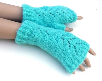 Fingerless gloves, knit winter gloves, women arm warmers, blue fingerless mittens, winter gloves, autumn wrist warmers, knitting gloves