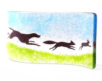 Hound Fox Hare Fused Glass Curve, Glass Art, Gift, free standing glass, glass gift, one of a kind