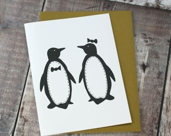 Penguins Card - penguin print - wedding card - valentines card - anniversary card - engagement card