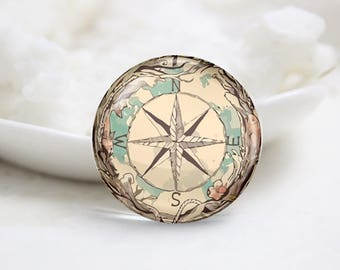 compass Photo Glass Cabochons (P3821)