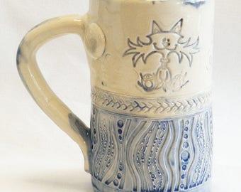 ceramic crazy cat coffee mug 16oz stoneware 16C020