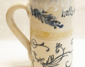 "ceramic artisan ""hello beautiful"" coffee mug 20oz stoneware 20D062"