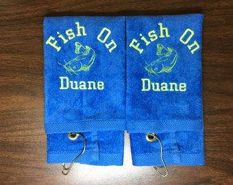 Fishing, Fishing towel, personalized towel, camping, fish, fathers day, embroidered, camping towel, catfish, bass or trout fish
