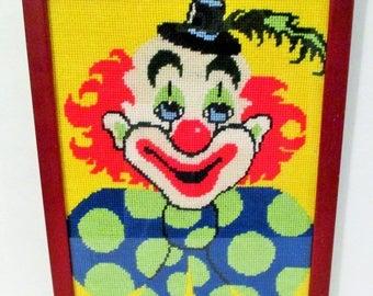20% Summer SALE Vintage Framed Needlepoint Clown