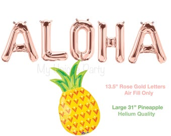 "Rose Gold ""ALOHA"" Letter Balloons 13.5"" Air Fill only / Large 37"" Pineapple Balloon Helium Quality / Fiesta Party Bachelorette Party Aloha"