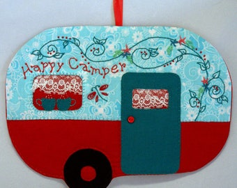 Vintage Trailer Happy Camper Mug Rug - Red and Aqua
