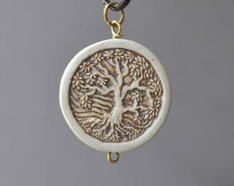 Tree of Life Necklace, Clay Necklace, Tree With Roots, Clay Jewelry, Tree of Life Jewelry, Ceramic Necklace, Earthy Jewelry, Nature Lover
