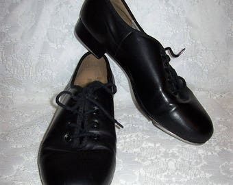 Vintage Black Leather Front Lace Tap Shoes by Capezio Size 8 1/2 Only 12 USD