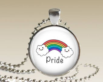 Cute Gay Pride Necklace with Rainbow and Smiling Clouds LGBT Necklace Gay Pride