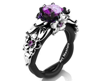 Nature Inspired 14K Black and White Gold 1.0 Ct Amethyst Floral Engagement Ring R460-14KBWGAM