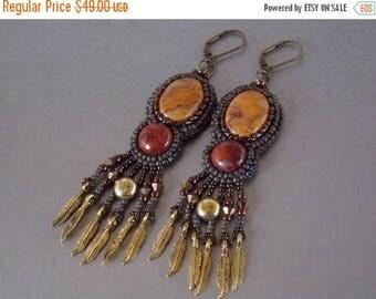 Summer sale Bead embroidery,  Earring, Seed bead jewelry, Trending jewelry, Embroidery jewelry, Agate, Bronze,