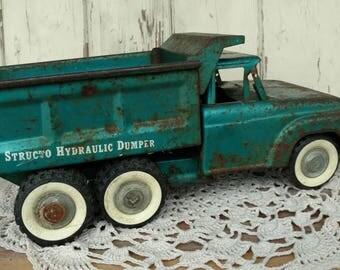 "Vintage Metal Green Dump Truck ""Structo Hydraulic Dumper"" - Big + Heavy Handed Rustic Child's Toy, Antique Truck, OOAK Metal Work Truck Gift"