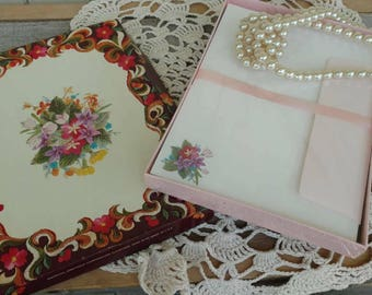 Vintage Floral Crewel Work Unused Stationary Boxed Set - OOAK Graduate Gift, Writing A Letter, Retro Happy Stationary, Mid Century Floral