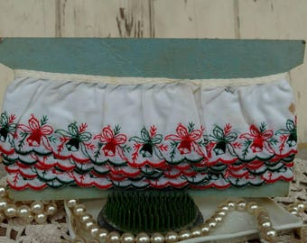 Retro Christmas Cotton Ruffled Trim - Embroidered Vintage Holiday Sewing Trim, Deck the Halls, Christmas Trim For Sewing, Ringing Bells