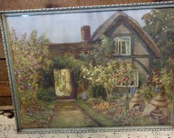 Vintage Framed English Cottage + Garden Print - Victorian Wall Art, Silver Frame, Edwardian Art + Decor, Whimsical Wall or Home Decor,