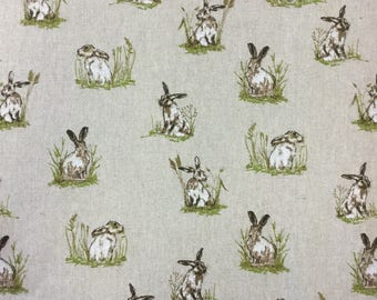 Hares print on linen effect cotton by the metre