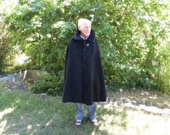 Antique French wool winter cape cope priest clergy cassock w hood priest religious vestment clothing black warm woolen felted winter coat