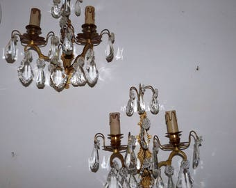 Antique French crystal bronze wall sconces lighting light fixture, romantic Chateau boudoir wallsconce lamps w facetted lustres, beads drops
