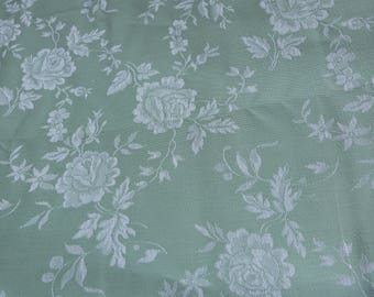 Vintage linen mattress ticking French ticking fabric green floral mattress toile damask roses, sewing patchwork supply textile 5 YARD fabric