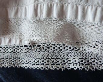 Antique French bolster cover case w hand made needle lace for bolster pillow, vintage French bedding romantic white bed linens w lace