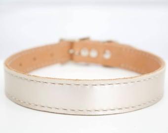 Large Custom Metallic Leather Dog Collar - Large Wedding Dog Collar - Metallic Leather Dog Collar - Silver Leather Collar - Gold Leather